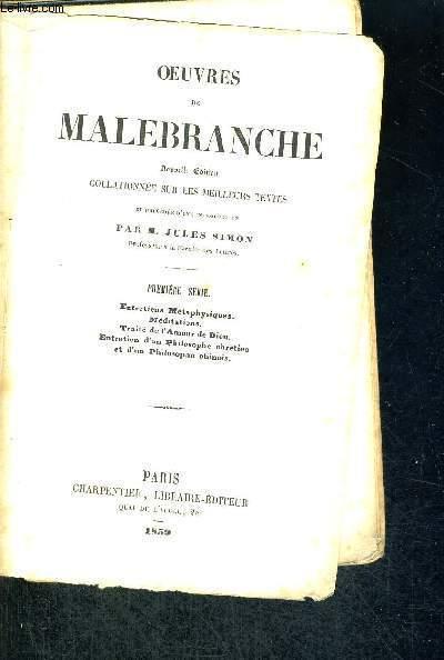 OEUVRES DE MALEBRANCHE - TOME 1