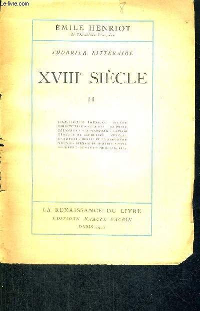 COURRIER LITTERAIRE - XVIII E SIECLE - TOME 2