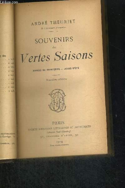 SOUVENIRS DES VERTES SAISONS - ANNEES DE PRINTEMPS - JOURS D'ETE - 9EME EDITION