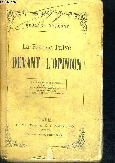 LA FRANCE JUIVE DEVANT L'OPINION