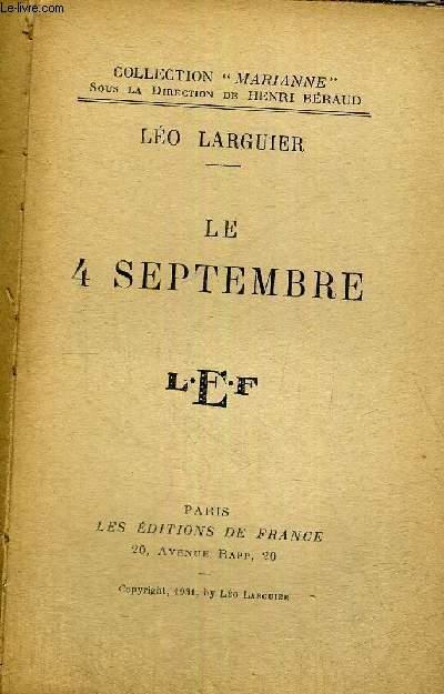 LE 4 SEPTEMBRE + HOMMAGE DE L'AUTEUR