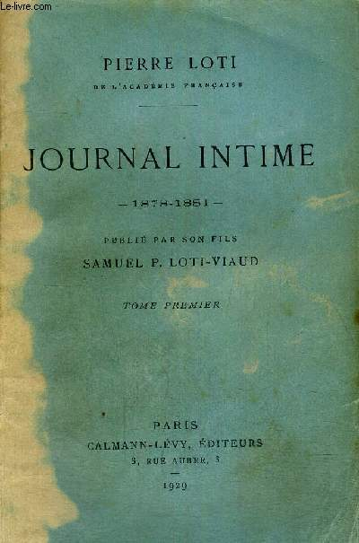 JOURNAL INTIME - 1878-1881 - TOME 1