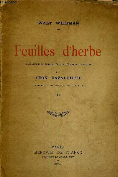 FEUILLES D'HERBE - TOME 2
