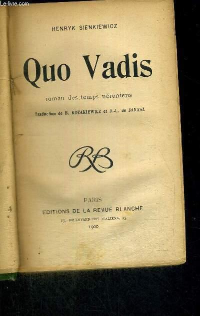 QUO VADIS - ROMAN DES TEMPS NERONIENS