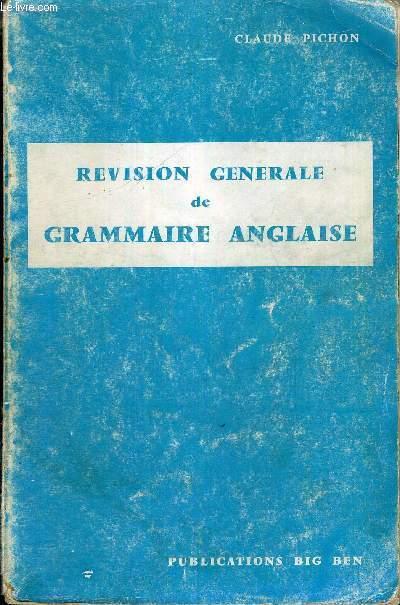 REVISION GENERALE DE GRAMMAIRE ANGLAISE