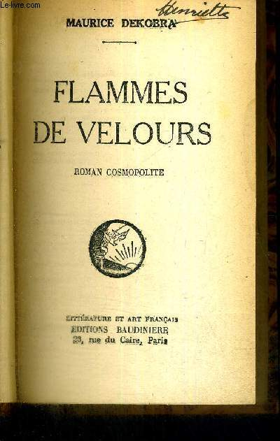 FLAMMES DE VELOURS - ROMAN COSMOPOLITE