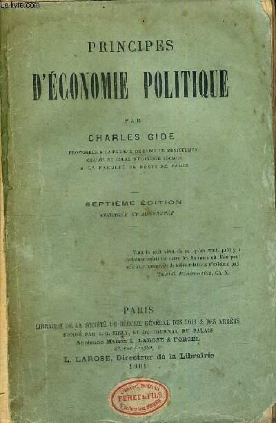 PRINCIPES D'ECONOMIE POLITIQUE - 7EME EDITION
