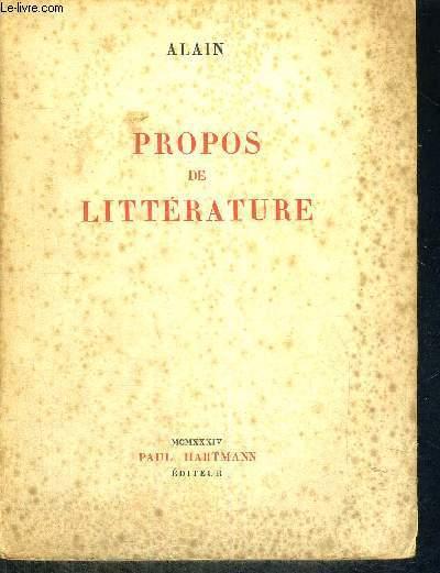 PROPOS DE LITTERATURE