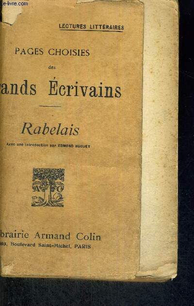 PAGES CHOISIES DES GRANDS ECRIVAINS - RABELAIS - 9E EDITION