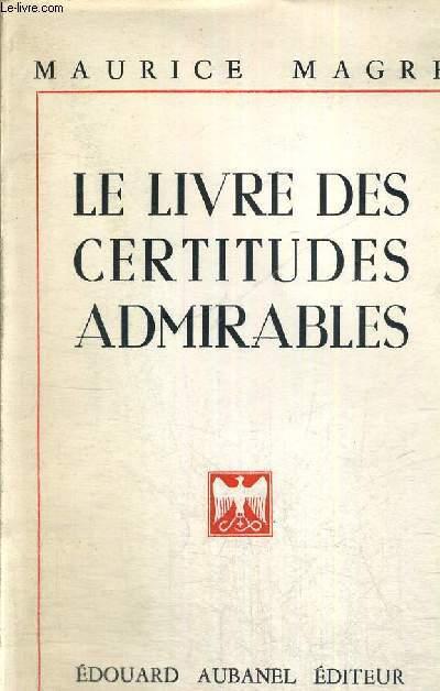 LE LIVRE DES CERTITUDES ADMIRABLES