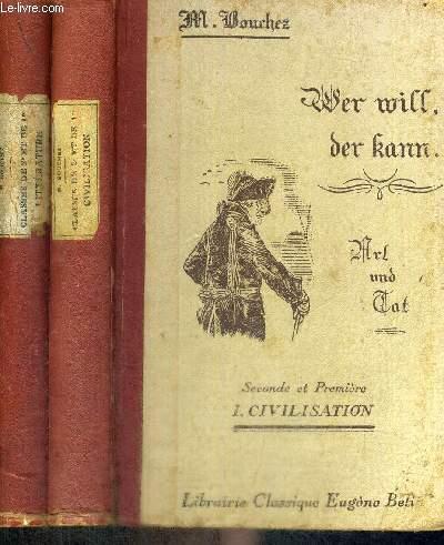 WER WILL, DER FANN - ART UND LAT - SECONDE ET PREMIERE  2 VOLUMES - TOMES 1 ET 2 - CIVILISATION - LITTERATURE - LIVRE EN FRANCAIS ET EN ALLEMAND