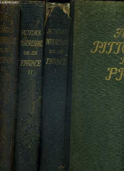ATLAS PITTORESQUE DE LA FRANCE - RECUEIL DE VUES GEOGRAPHIQUES ET PITTORESQUES DE TOUS LES DEPARTEMENTS, ACCOMPAGNEES DE NOTICES GEOGRAPHIQUES ET DE LEGENDES EXPLICATIVES - 3 VOLUMES- TOMES 1 A 3 - PUBLIE SOUS LES AUSPICES DE LA SOCIETE DE GEOGRAPHIE