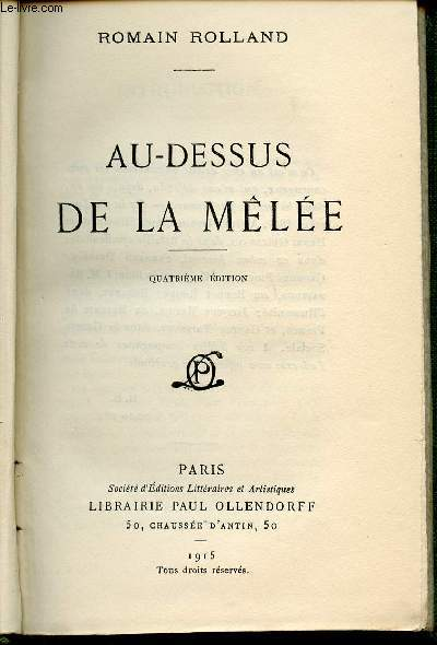 AU DESSUS DE LA MELEE / QUATRIEME EDITION