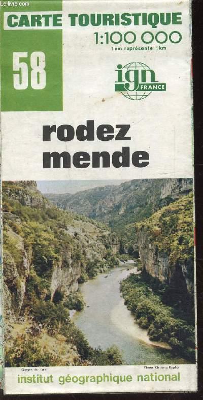 1 CARTE TOURISTIQUE N° 58 DEPLIANTE COULEUR : RODEZ MENDE.