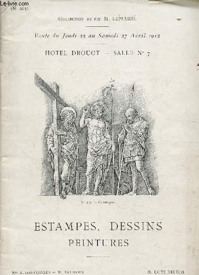 COLLECTION DE FEU M.LEMARIE - VENTE DU JEUDI 25 AU SAMEDI 27 AVRIL 1912 - HOTEL DROUOT - SALLE N°7 - ESTAMPES, DESSINS, PEINTURES