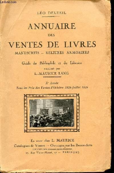 ANNUAIRE DES VENTES DE LIVRES - MANUSCRITS - RELIURES - ARMORIEES