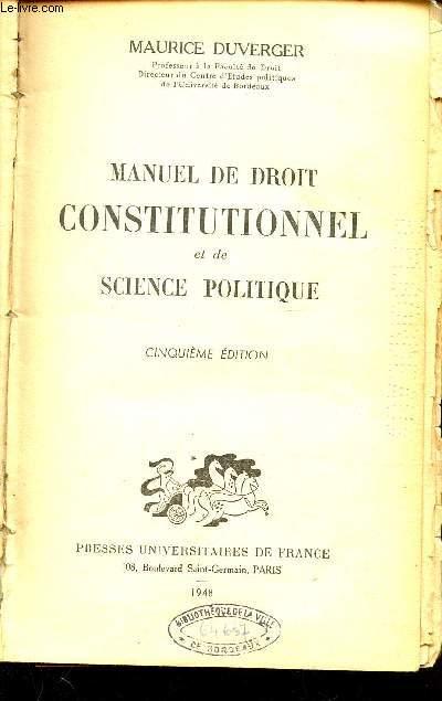 MANUEL DE DROIT CONSTITUTIONNEL ET DE SCIENCE POLITIQUE