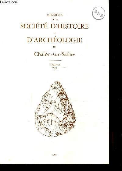 MEMOIRES DE LA SOCIETE D'HISTOIRE ET D'ARCHEOLOGIE DE CHALON-SUR-SAÔNE - TOME 60 - 1991