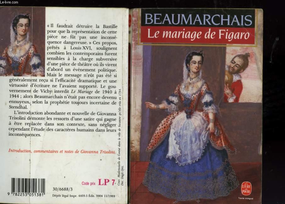 LA FOLLE JOURNEE OU LE MARIAGE DE FIGARO COMEDIE EN CINQ ACTES