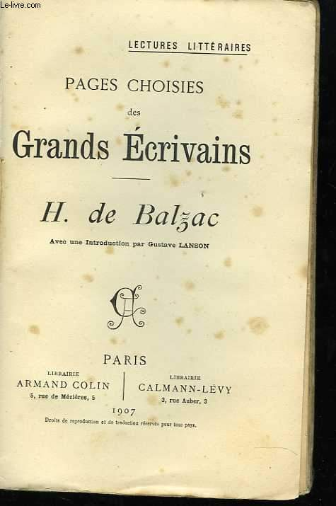 Pages choisies des grands écrivains. Honoré de Balzac