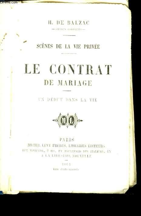 Le contrat de mariage. Un début dans la vie