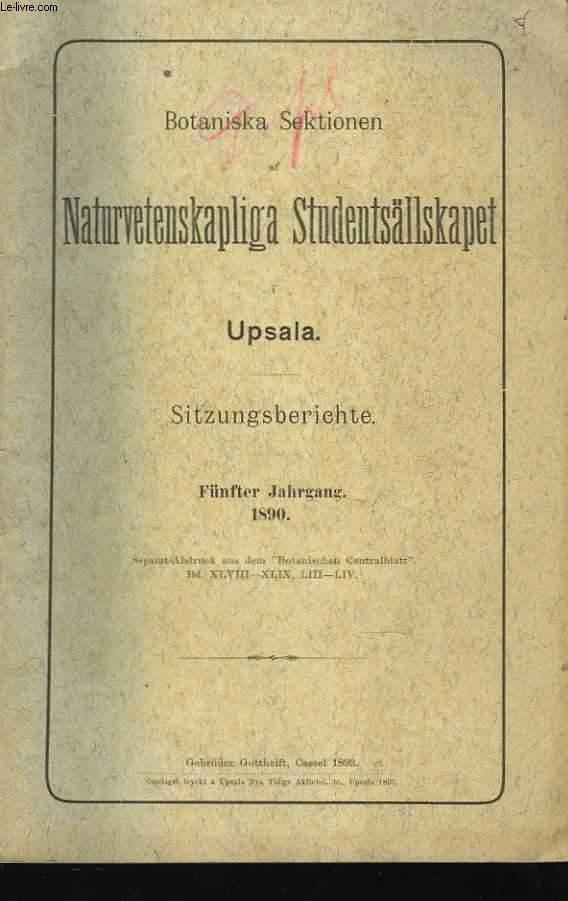 Botaniska Sektionen af Naturvetenskapliga Studentsällskapet i Upsala. Sitzungsberichte