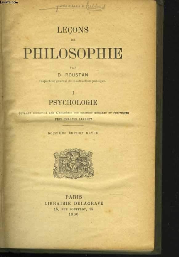 Leçons de philosophie. 1. Psychologie