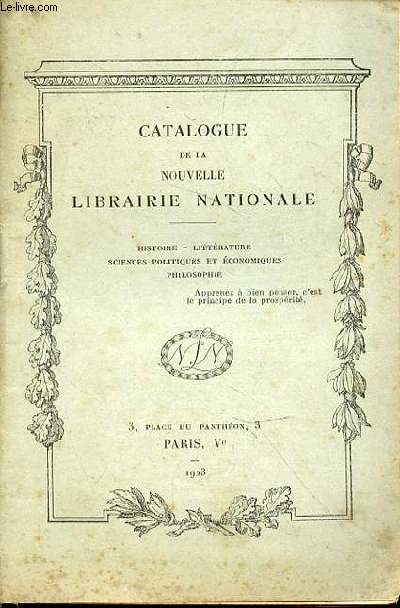 Catalogue de la Nouvelle Librairie Nationale