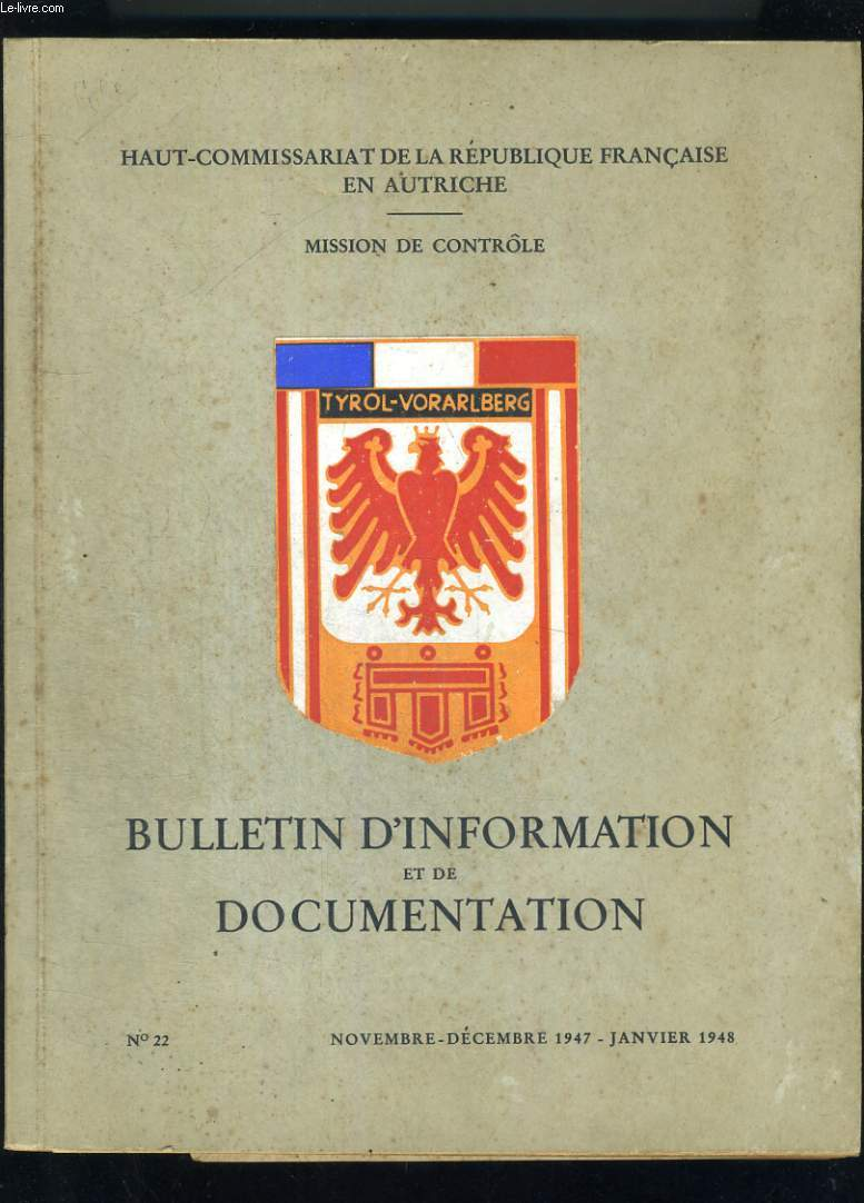 Bulletin d'information et de de documentation n° 22