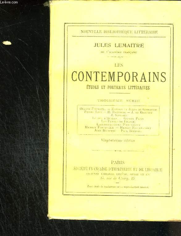 Les contemporais. Etudes et portraits littéraires. Troisième série