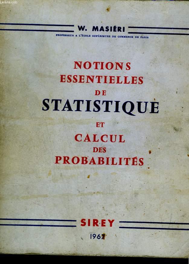 Notions essentielles de statistique et de calcul des probabilités