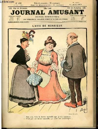 Le journal amusant - nouvelle série N°198 - L'avis de Monsieur.