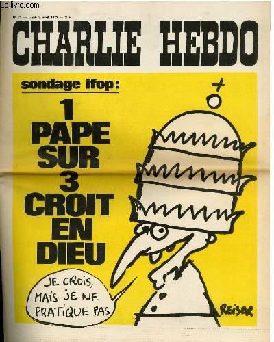 CHARLIE HEBDO N°72 - SONDAGE IFOP, 1 PAPE SUR 3 CROIT EN DIEU