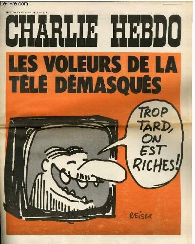 CHARLIE HEBDO N°77 - LES VOLEURS DE LA TELE DEMASQUES