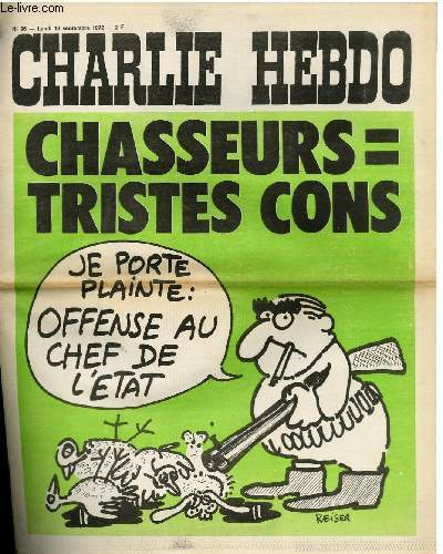CHARLIE HEBDO N°96 - CHASSEURS = TRISTE CONS