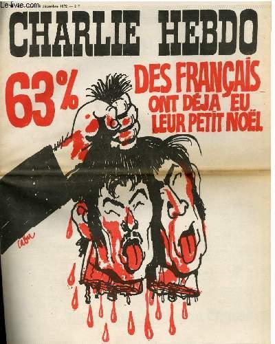 CHARLIE HEBDO N°107 - 63% DES FRANCAIS ONT DEJA EU LEUR PETIT NOEL