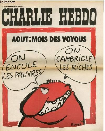 CHARLIE HEBDO N�144 - AOUT : MOIS DES VOYOUS