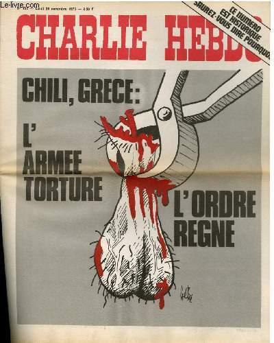 CHARLIE HEBDO N°158 - CHILI, GRECE : L'ARMEE TORTURE, L'ORDRE REGNE
