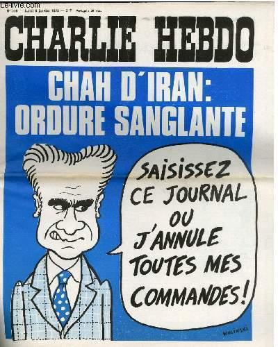 CHARLIE HEBDO N°216 - CHAH D'IRAN : ORDURE SANGLANTE