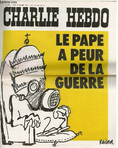 CHARLIE HEBDO N°218 - LE PAPE A PEUR DE LA GUERRE