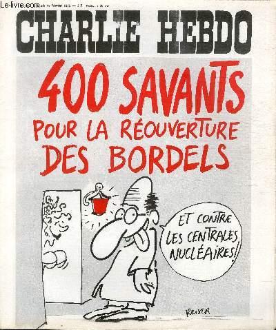 CHARLIE HEBDO N°222  - 400 SAVANTS POUR LA REOUVERTURE DES BORDELS