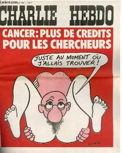 CHARLIE HEBDO N�277 - CANCER : PLUS DE CREDITS POUR LES CHERCHEURS