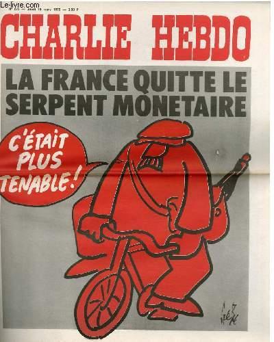 CHARLIE HEBDO N°279 - LA FRANCE QUI LE SERPENT MONETAIRE