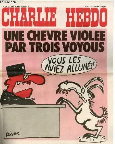 CHARLIE HEBDO N°291 - UNE CHEVRE VIOLEE PAR 3 VOYOUS