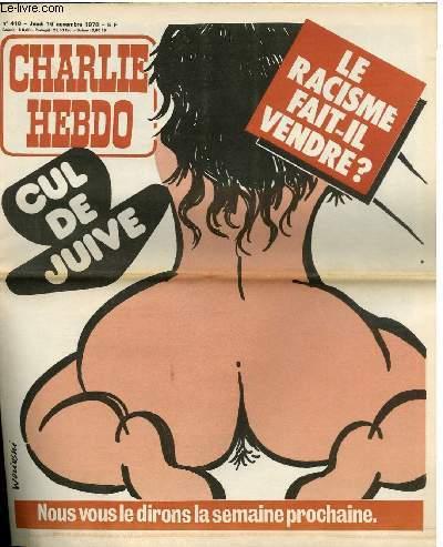 CHARLIE HEBDO N�418 - CUL DE JUIVE, LE RACISME FAIT-IL VENDRE ?