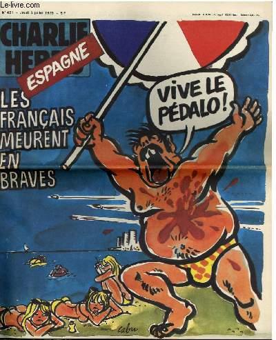 CHARLIE HEBDO N°451 - ESPAGNE, LES FRANCAIS MEURENT EN BRAVES