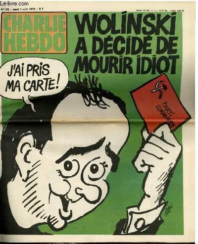 CHARLIE HEBDO N°455 - WOLINSKI A DECIDE DE MOURIR IDIOT