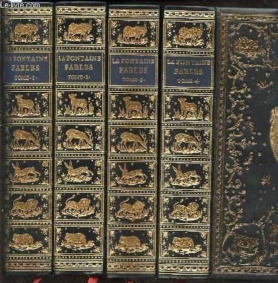 FABLES DE LA FONTAINE EN 4 TOMES (1+2+3+4 - COMPLET) AVEC LES FIGURES D'OUDRY PARUES DANS L'EDITION DESAINT ET SAILLANT DE 1755.