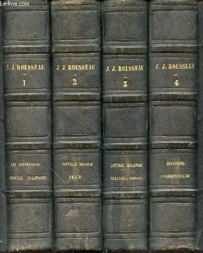 OEUVRES COMPLETES DE J. J. ROUSSEAU AVEC DES NOTES HISTORIQUES EN 4 TOMES (1+2+3+4).