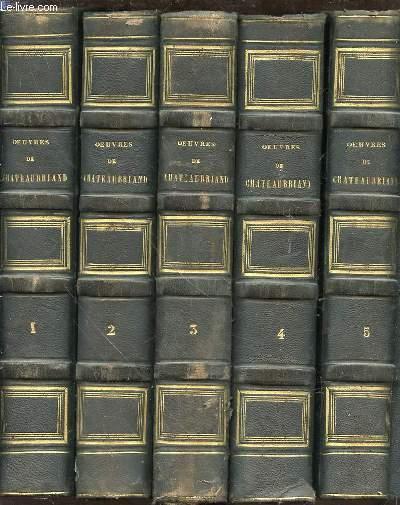 OEUVRES COMPLETES DE M. LE VICOMTE DE CHATEAUBRIAND EN 5 TOMES (1+2+3+4+5) - Augmentées d'un essai sur la vie et les ouvrages de l'auteur.